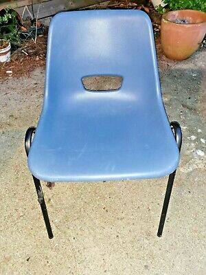 Vintage Blue Retro School/Hall/Garden Chair stackable