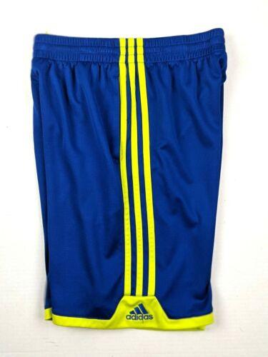 Adidas Boys Athletic Basketball Training Gym Shorts - Blue / Lime - M (10-12)