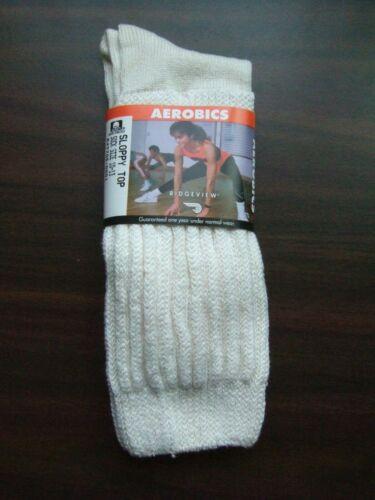 Vtg NWT Ridgeview Aerobic Sloppy Top White 80 90 Boot baggies Slouch socks 10 13