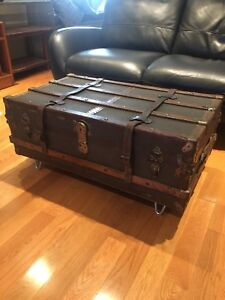 Antique Steamer Trunk (circa 1900's) - awesome Coffee Table