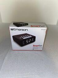 Emerson Smart Set Dual Alarm Clock AM FM Radio Black Time Zones for 50 States