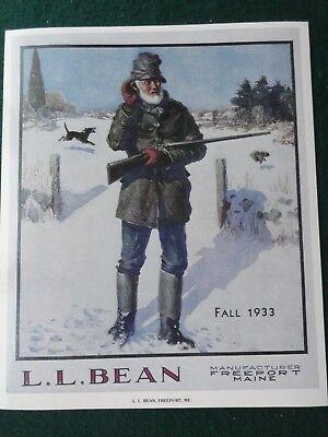 L.L.Bean Cover Poster Fall 1933 Catalog Freeport, Maine Artwork