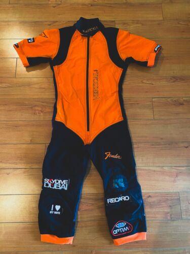 Vertical Mens Skydiving Jumpsuit, Viper Shortie Suite, Orange & Black