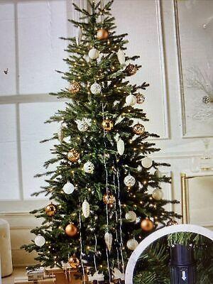 7ft Pre-Lit Balsam Fir Artificial Tree LED Warm White Dew Drop Lights