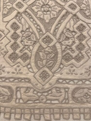 "Vintage Embroidered Madeira Cutwork Table Runner 41"" x 13"" Bone Ecru Beautiful"
