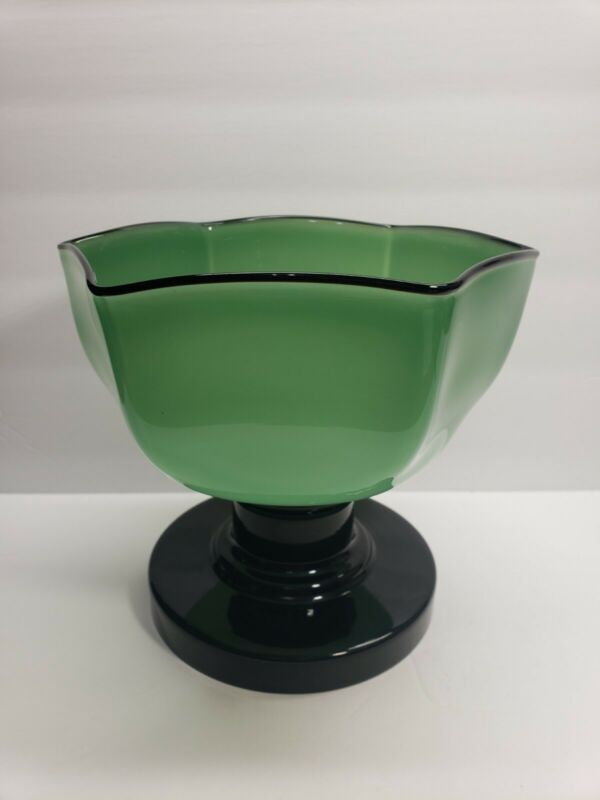 Vintage Czech Tango Glass Footed Compote Dish Green And Black  7 X 7 3/4