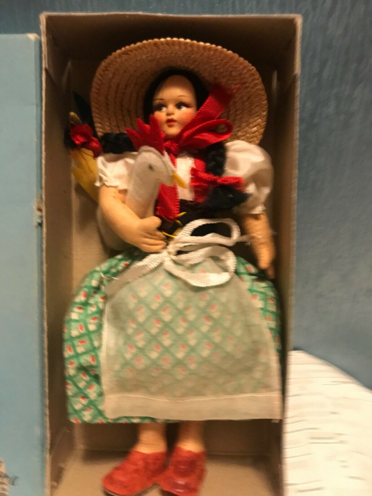 Vintage 7.5 1950 Paper Mache Face/Cloth Body Doll, In Ethnic Dress Roma Italy - $50.00