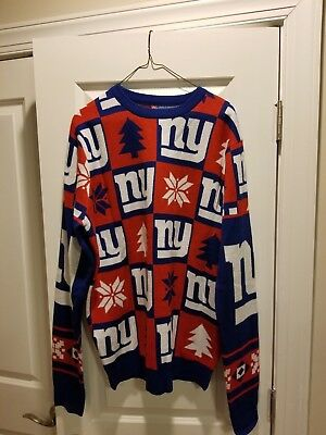 New York Giants NFL Team Apparel Large Ugly Holiday Sweater Christmas Tree for sale  Columbia