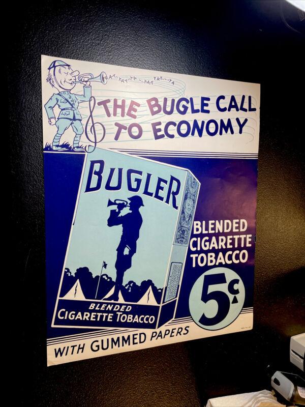 ORIGINAL NOS 1940's Bugler 5 Cent Cigarette Tobacco Advertising Sign Poster