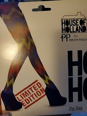 House Of Holland For Pretty Polly Limited Edition Zig Zag Tights Women O/S