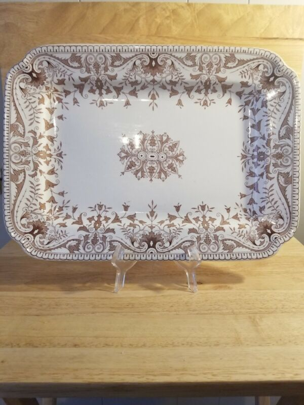 Antique Tourney T&R Boote Ironstone Brown Transferware Large Platter 1842-1906