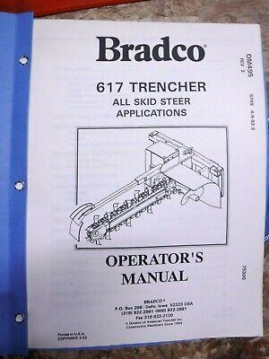 1992 Bradco 617 Trencher Original Factory Operators Manual Skid Steer