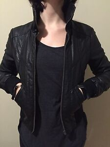 Black high collar leather style jacket