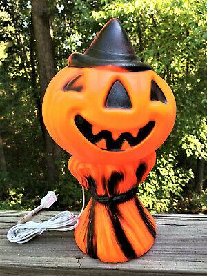 1969 Halloween Blow Mold Pumpkin Jack o Lantern Hay Stack Empire Plastic Lighted