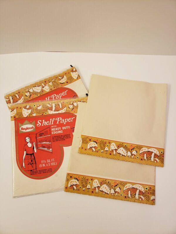 3 Vintage Roylcraft Shelf Paper Liner Mushroom Edging Compliments Merry Mushroom