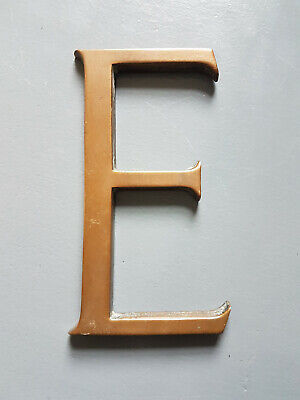 Vintage brass shop sign letter E with nice patina - 6