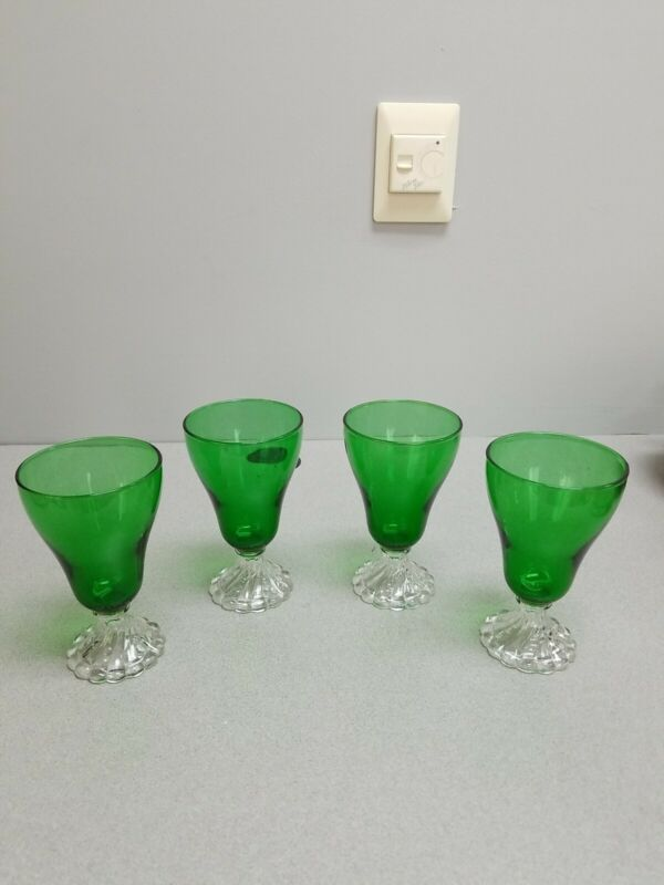 4 Anchor Hocking Forest Green Boopie Glasses