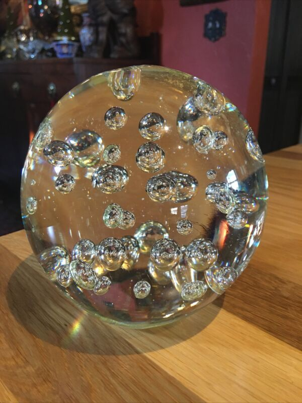 Large Clear Glass Sphere With Bubbles Heavy