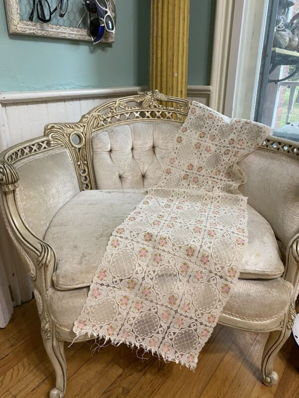"""Beautiful 1900's French Cream Net Lace Runner Pink Floral Roses Medallions 46"""""""