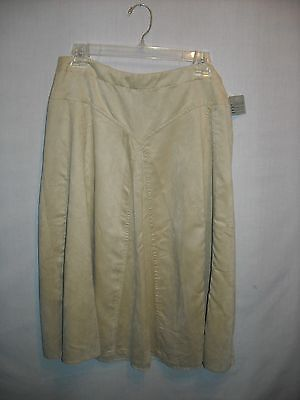 Coldwater Creek Skirt Size Medium Petite beige faux suede chamois side zip New