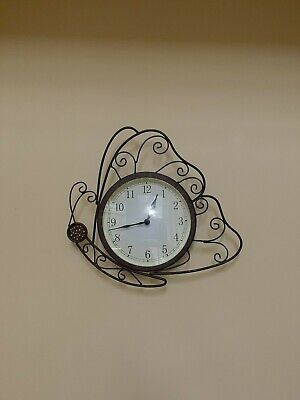 RUSTIC BRONZE SCROLLED BUTTERFLY CLOCK - WALL MOUNTED