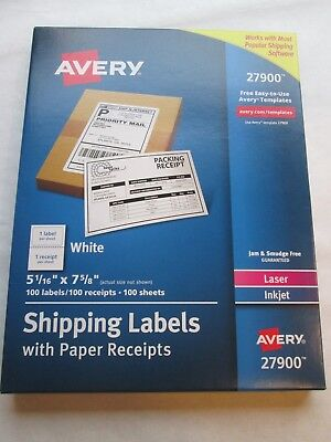 Avery 27900 White Shipping Labels With Paper Receipts Laser Ink Jet