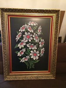 Custom framed needlepoint art - daisies