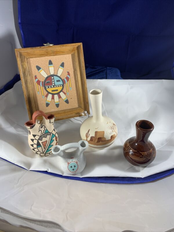 southwest art and pottery lot of 5