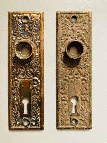 Antique Set of 2 Art Deco Floral Design Copper Patina DOOR KNOB PLATES Small