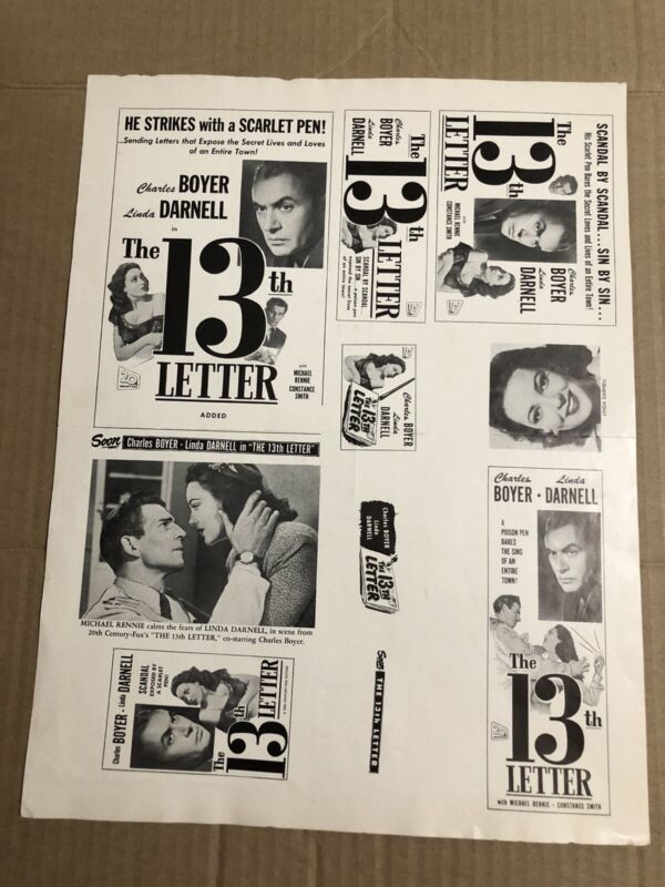 THE 13th LETTER - Vintage 1951 Press Kit Ad Advertising Supplement Page