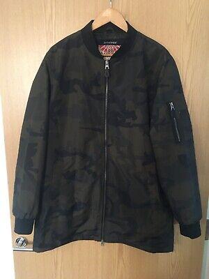 Tokyo Laundry Men's Wilton Longline Zip up Camouflage Bomber Jacket Size L