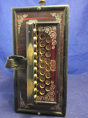 ANTIQUE VINTAGE Asian Oriental Chinese Wood Concertina Accordion Instrument