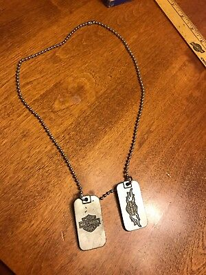 HARLEY DAVIDSON DOG 2 TAGs On 1 NECKLACE Hog Jewelry Men's Women's Metal Pendant