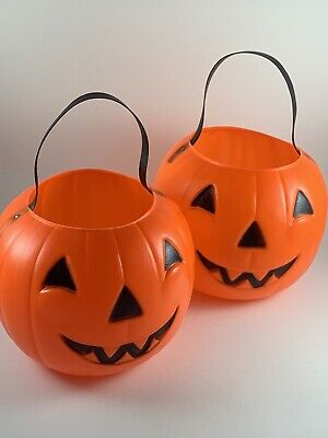 2 Vintage Empire Blow Mold Jack O'Lantern Candy Buckets Pumpkin Treat Pails
