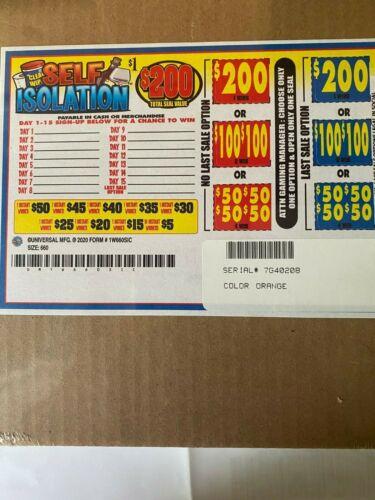 """Self Isolation"" 1 Window Pull Tab 660 Tickets  Free Ship USA (48)"