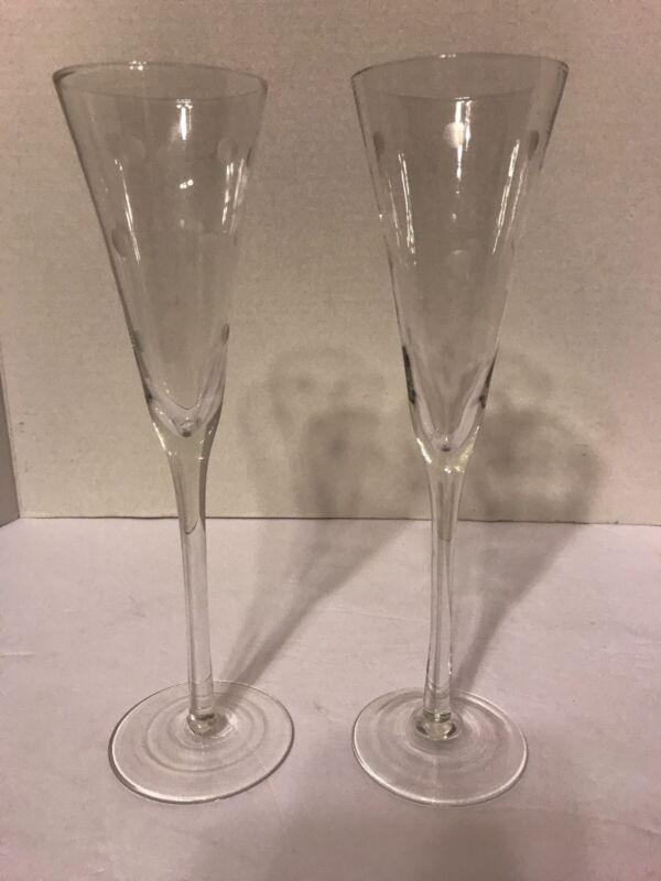 Pair ELEGANT TALL Crystal Wine Champagne Glasses Stems Flutes CUT DOTS!