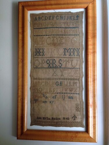 Fine Antique Sampler 1840 Dated SIGNED Birdseye Maple Frame