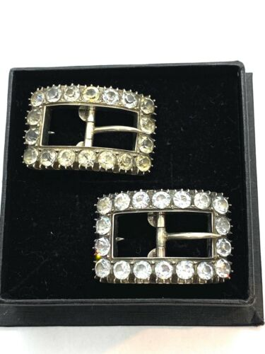 Antique Pair of Georgian Sterling Silver Diamond Paste Small Ladies Shoe Buckles