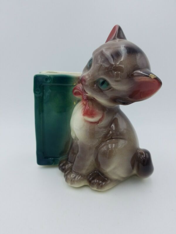 "Royal Copley 6 1/2"" Kitten & Book Planter Kitty Cat w/ Pink Bow"