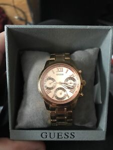 Rose Gold Guess Chronographic Watch