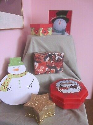 CHRISTMAS LOT 6 BOXES for Gifts Party Favors Serving Pieces Decorating Vintage](Boxes For Christmas Gifts)