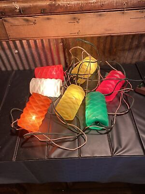 Vintage Blow Mold Patio Parti Lites Camping Deck 7 Lantern Lights