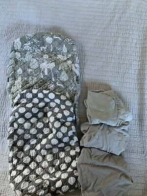 Land of Nod Lot Gray Nursery Set Changing Pad Cover Crib Sheets Pac & Play Sheet