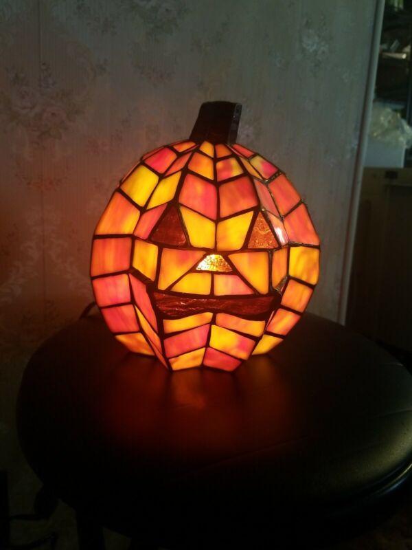 Holloween Stained Glass Pumpkin Lamp