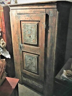 Antique Wooden 1792 Armoire Bauern Shrank Closet Wardrobe Hand Painted German