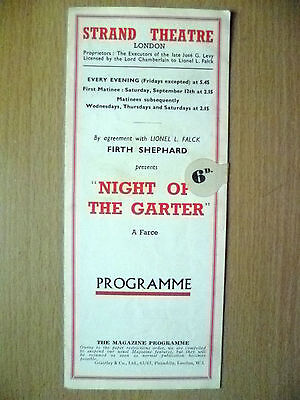 STRAND THEATRE PROGRAMME- NIGHT OF THE GARTER BY AVERY HOPWOOD & W COLLISON