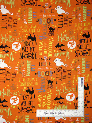 Boo Word For Halloween (Halloween Cat Ghost Words Orange Cotton Fabric Wilmington Here For The Boos)