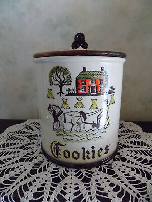 Metlox Poppy trail Cookie Jar Vintage Canister Mid Century Country Farm Horse