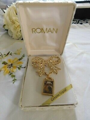Roman Clear Crystal Photo Holder Gold Brooch, New from old stock in Gift Box
