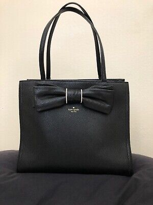 Kate Spade Tote Bag Black Leather Purse with Bow